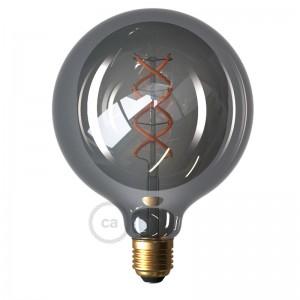 LED Smoky lichtbron - Globe G125 gebogen LED spiraal- 5W E27 dimbaar 2000K