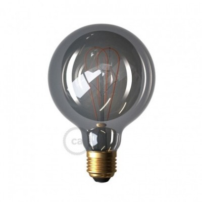 LED Smoky lichtbron - Globe G95 dubbele lus LED spiraal - 5W E27 dimbaar 2000K