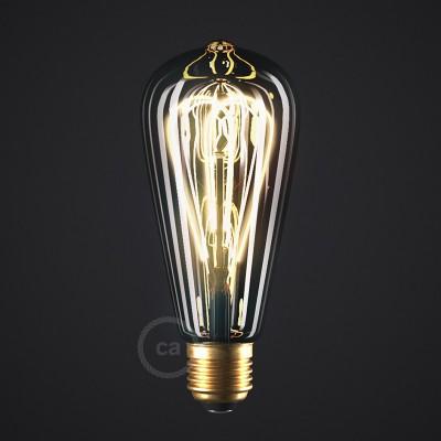 Ampoule Smoky LED Edison ST64 Filament Courbe à Double Loop 5W E27 Dimmable 2000K