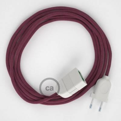 Rallonge électrique avec câble textile RC32 Coton Marc De Raisin 2P 10A Made in Italy.