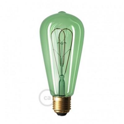 Ampoule Émeraude LED Edison ST64 Filament Courbe à Double Loop 5W E27 Dimmable 2200K