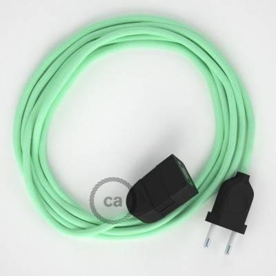 Rallonge électrique avec câble textile RC34 Coton Lait Menthe 2P 10A Made in Italy.