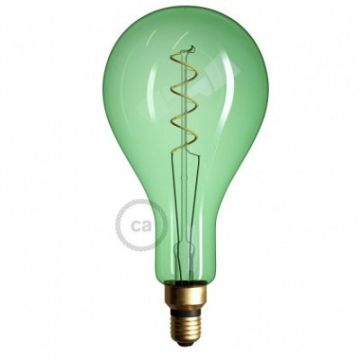Ampoule Émeraude XXL LED - Poire A165 Filament courbe avec Double Spirale 5W E27 Dimmable 2200K