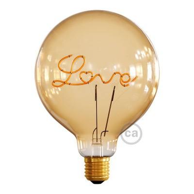 """Ampoule Dorée Globe LED pour lampe à poser - G125 Filament simple """"Love"""" - 5W E27 Décorative Vintage 2000K"""