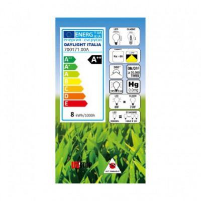 Ampoule LED Goutte A60 forte intensité blanc lait 8W E27 4000K