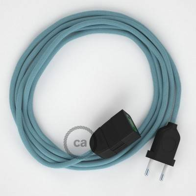 Verlengkabel 2P 10A met rond flexibel strijkijzersnoer RC53 van zeeblauw katoen