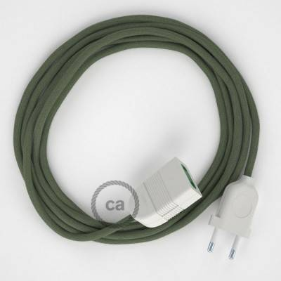 Rallonge électrique avec câble textile RC63 Coton Vert Gris 2P 10A Made in Italy.