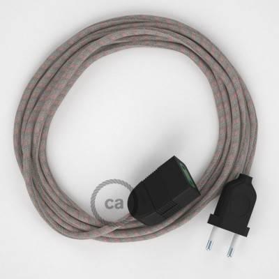 Rallonge électrique avec câble textile RD51 Coton et Lin Naturel Stripes Vieux Rose 2P 10A Made in Italy.