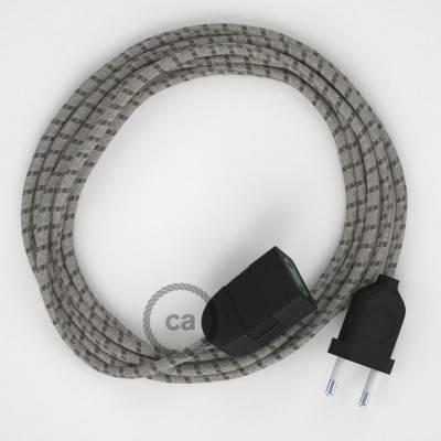 Rallonge électrique avec câble textile RD53 Coton et Lin Naturel Stripes Marron Écorce 2P 10A Made in Italy.