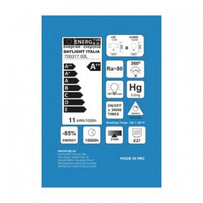 Ampoule Trasparente LED XXL Sphère G200 Double Filament Droit 11W E27 2700K Dimmable