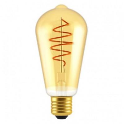 Ampoule LED Edison ST64 ligne Croissant dorée avec filament en spirale 5W E27 dimmable 2000K