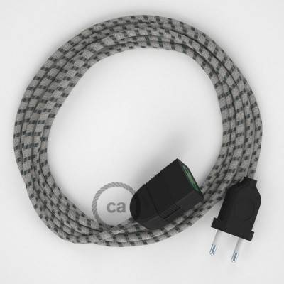 Rallonge électrique avec câble textile RD54 Coton et Lin Naturel Stripes Anthracite 2P 10A Made in Italy.