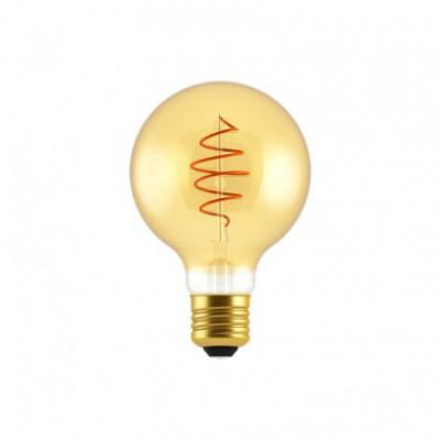 Bol G80 LED lichtbron goudkleurige Croissant lijn met spiraal filament 5W E27 Dimbaar 2000K