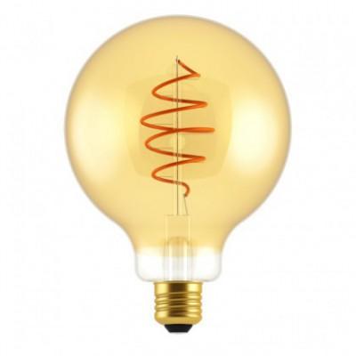 Ampoule LED Globe G125 ligne Croissant dorée avec filament en spirale 5W E27 dimmable 2000K