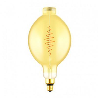 Ampoule LED XXL Fuso BT180 ligne Croissant dorée avec filament en spirale 8,5W E27 dimmable 2000K