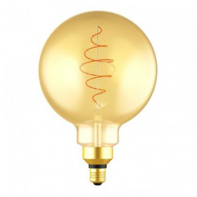 Ampoule LED Globe G200 ligne Croissant dorée avec filament en spirale 8,5W E27 dimmable 2000K