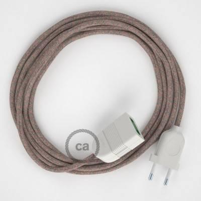 Rallonge électrique avec câble textile RD61 Coton et Lin Naturel Losange Vieux Rose 2P 10A Made in Italy.