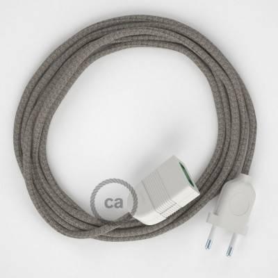 Rallonge électrique avec câble textile RD62 Coton et Lin Naturel Losange Vert Thym 2P 10A Made in Italy.