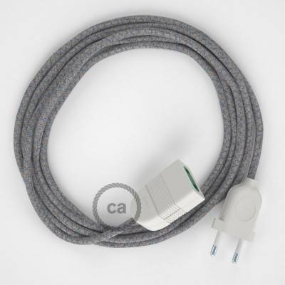 Rallonge électrique avec câble textile RD65 Coton et Lin Naturel Losange Bleu Steward 2P 10A Made in Italy.