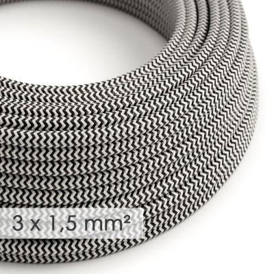Lang overbruggings- strijkijzersnoer 3 x 1,50 mm. - zigzag zwart/wit viscose RZ04