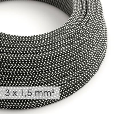 Fil Électrique De Large Section 3x1,50 Rond - Tissu Effet Soie Noir Blanc 3D RT41