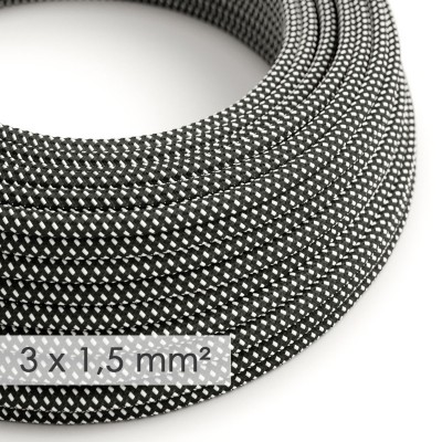 Lang overbruggings- strijkijzersnoer 3 x 1,50 mm. - zwart/wit viscose 3D effect RT41