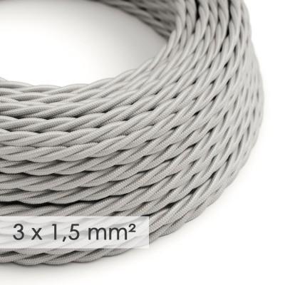 Lang overbruggings- gevlochten strijkijzersnoer 3 x 1,50 mm. - zilver viscose TM02