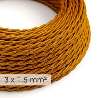Lang overbruggings- gevlochten strijkijzersnoer 3 x 1,50 mm. - goud viscose TM05