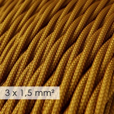Fil Électrique De Large Section 3x1,50 Torsadé - Tissu Effet Soie Or TM05