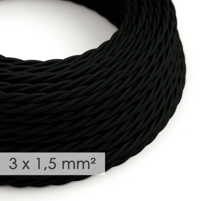 Lang overbruggings- gevlochten strijkijzersnoer 3 x 1,50 mm. - zwart viscose TM04