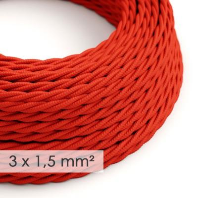 Lang overbruggings- gevlochten strijkijzersnoer 3 x 1,50 mm. - rood viscose TM09