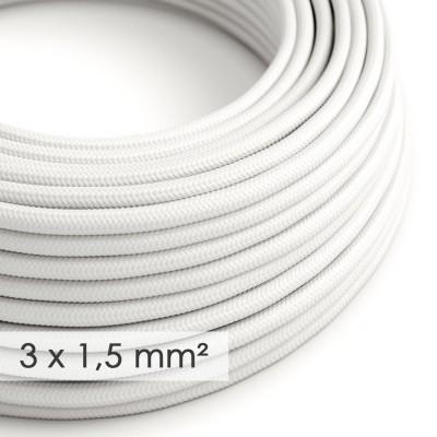 Fil Électrique De Large Section 3x1,50 Rond - Tissu Effet Soie Blanc RM01