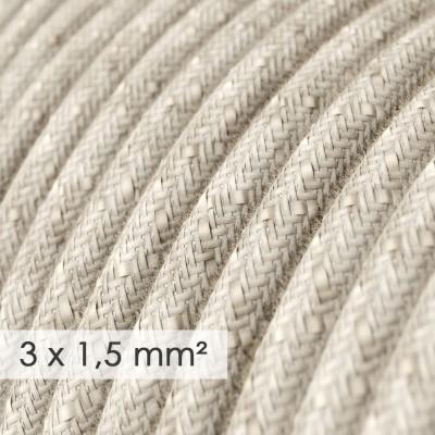 Lang overbrugging-snoer 3 x 1.50 rond - bekleed met natuurlijk linnen neutraal RN01