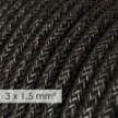 Fil Électrique De Large Section 3x1,50 Rond - Lin Naturel Anthracite RN03