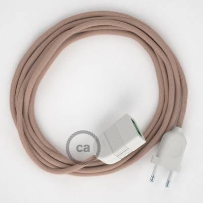 Rallonge électrique avec câble textile RD71 Coton et Lin Naturel ZigZag Vieux Rose 2P 10A Made in Italy.