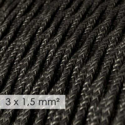 Lang overbrugging-snoer 3 x 1.50 gevlochten - bekleed met natuurlijk linnen antraciet TN03