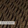 Fil Électrique De Large Section 3x1,50 Torsadé - Lin Naturel Marron TN04