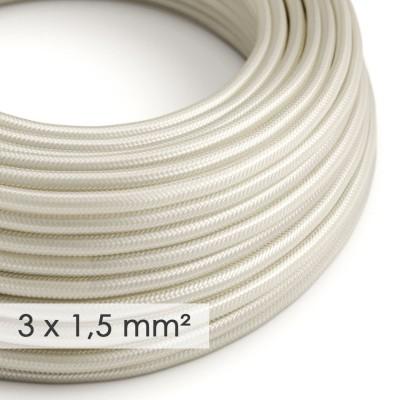 Fil Électrique De Large Section 3x1,50 Rond - Tissu Effet Soie Ivoire RM00