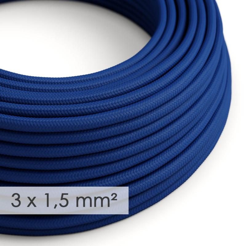 Fil Électrique De Large Section 3x1,50 Rond - Tissu Effet Soie Bleu RM12