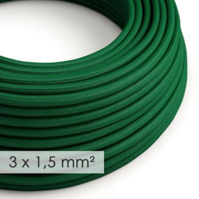 Fil Électrique De Large Section 3x1,50 Rond - Tissu Effet Soie Vert Foncé RM21