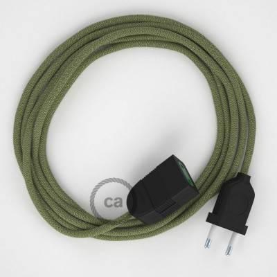 Rallonge électrique avec câble textile RD72 Coton et Lin Naturel ZigZag Vert Thym 2P 10A Made in Italy.