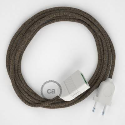 Rallonge électrique avec câble textile RD73 Coton et Lin Naturel ZigZag Marron Écorce 2P 10A Made in Italy.