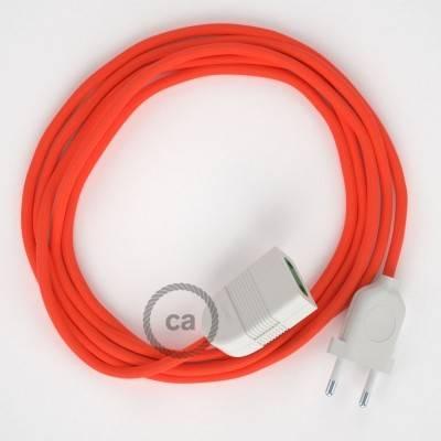 Rallonge électrique avec câble textile RF15 Effet Soie Orange Fluo 2P 10A Made in Italy.