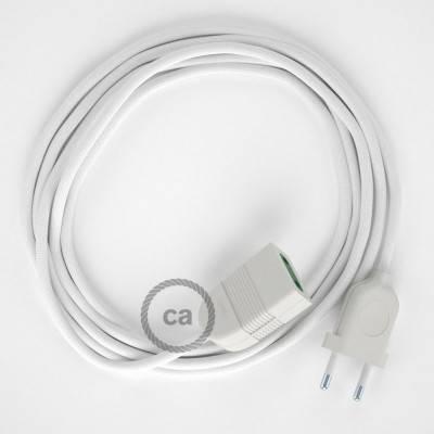 Rallonge électrique avec câble textile RM01 Effet Soie Blanc 2P 10A Made in Italy.
