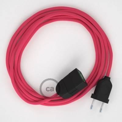 Rallonge électrique avec câble textile RM08 Effet Soie Fuchsia 2P 10A Made in Italy.