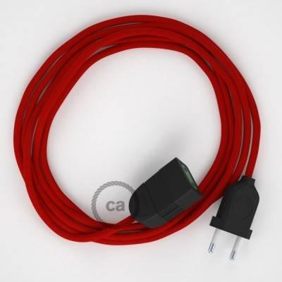 Verlengkabel 2P 10A met rond flexibel strijkijzersnoer RM09 van rood viscose