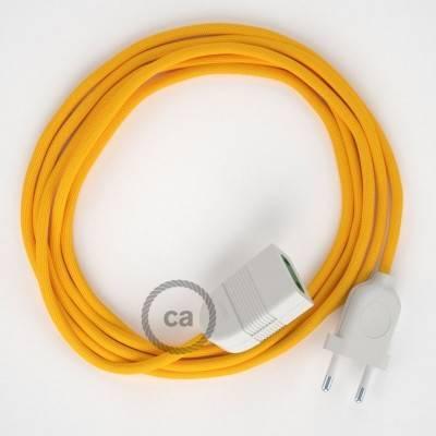 Rallonge électrique avec câble textile RM10 Effet Soie Jaune 2P 10A Made in Italy.