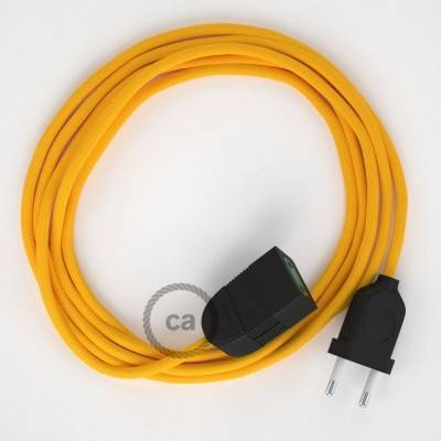Verlengkabel 2P 10A met rond flexibel strijkijzersnoer RM10 van geel viscose