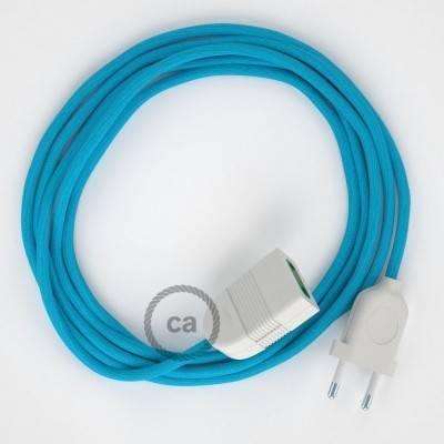 Verlengkabel 2P 10A met rond flexibel strijkijzersnoer RM11 van turquoise viscose