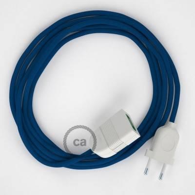 Rallonge électrique avec câble textile RM12 Effet Soie Bleu 2P 10A Made in Italy.